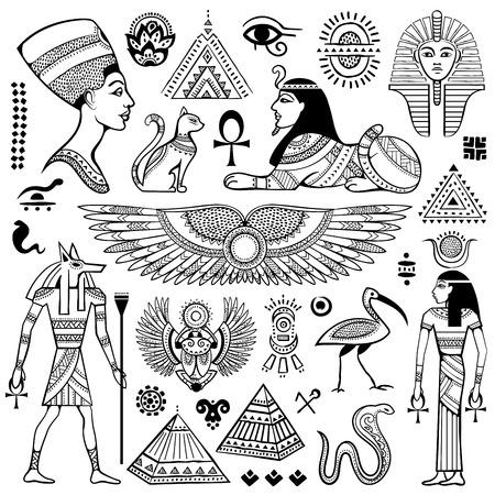 piramide humana: Conjunto de vector aislado símbolos y objetos Egipto Vectores