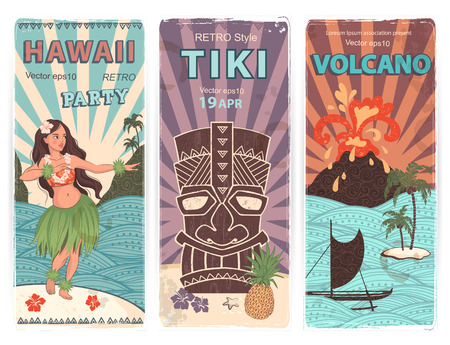 Vector Retro set of banners with  Hawaiian symbols Çizim