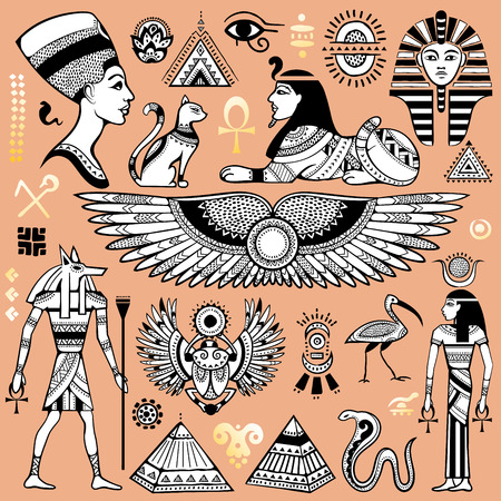 egyptian woman: Set of isolated Egypt symbols and objects