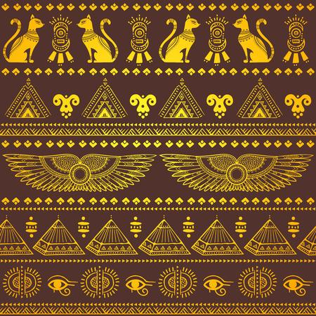 エジプト シンボルの部族民族シームレス パターン ベクトル