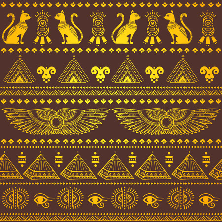 egyptian pyramids: Vector tribal ethnic seamless pattern with Egypt symbols Illustration