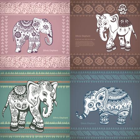 elefant: Vektor Jahrgang Setzen von Bannern mit ethnischen Elefanten
