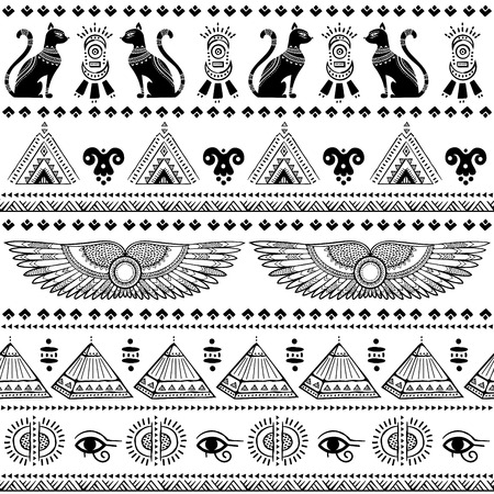 Vector tribal ethnic seamless pattern with Egypt symbols Çizim