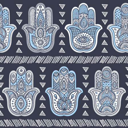 mantra: Vector Indian hand drawn hamsa symbol seamless pattern Illustration
