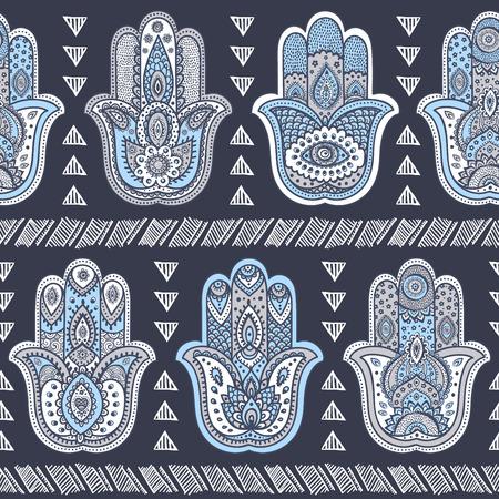 Vector Indian hand drawn hamsa symbol seamless pattern Vettoriali