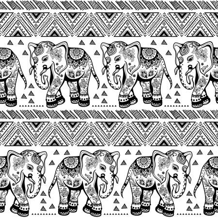 elefant: Ethnic vintage nahtlose Elefanten f�r Ihr Business