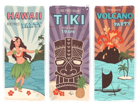 tiki party: Vector Retro set of banners with  Hawaiian symbols Illustration
