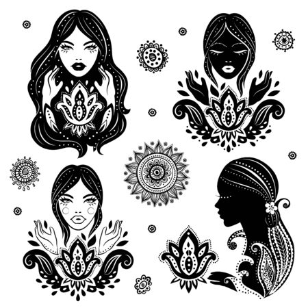 indian yoga: Isolated Vector Set of beautiful girls in meditation with a lotus Illustration