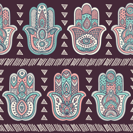 lotus flower: Vector Indian hand drawn hamsa symbol seamless pattern Illustration
