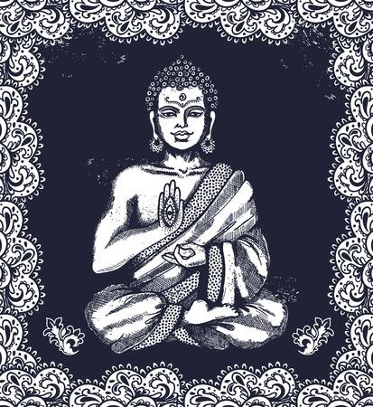 bouddha: Vintage illustration de vecteur avec Bouddha en méditation