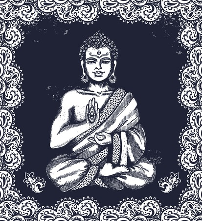 buddha: Vintage vector illustration with Buddha in meditation