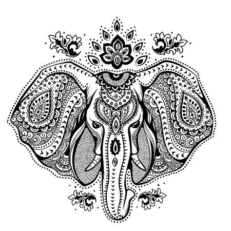 disegni cachemire: Vintage elefante illustrazione può essere utilizzato come biglietto di auguri Vettoriali