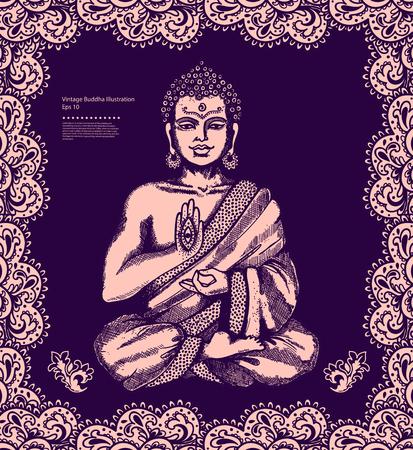 petal: Vintage vector illustration with Buddha in meditation