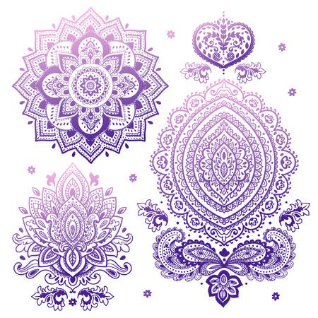 disegni cachemire: Set di vettore indiano ornamenti floreali. Mandala. Alcanna Vettoriali