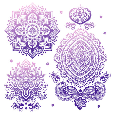 lotus petal: Set of vector Indian floral ornaments. Mandala. Henna