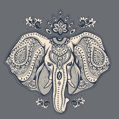 elefant: Weinlese-Elefant Abbildung kann als Gru�karte verwendet werden