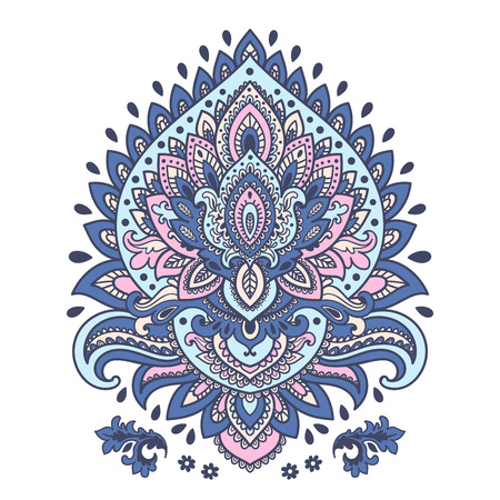 lotus petal: Beautiful Indian floral ornament can be used as a greeting card Illustration