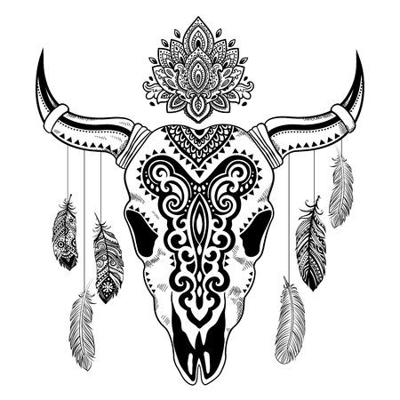 cuernos: Ilustración vectorial Tribal cráneo animal con adornos étnicos