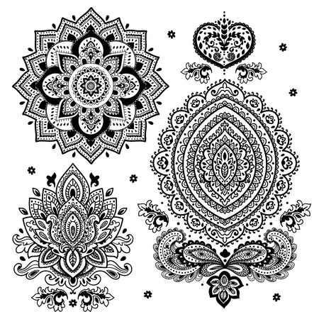 mandala: Set of vector Indian floral ornaments. Mandala. Henna