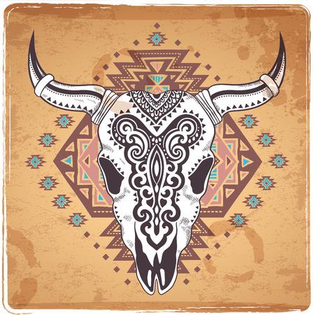エスニック雑貨とベクトル部族の動物の頭骨図