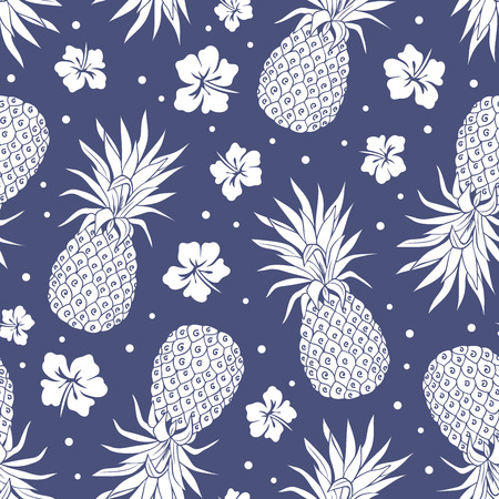 Vector Vintage pineapple seamless pattern with flowers  イラスト・ベクター素材