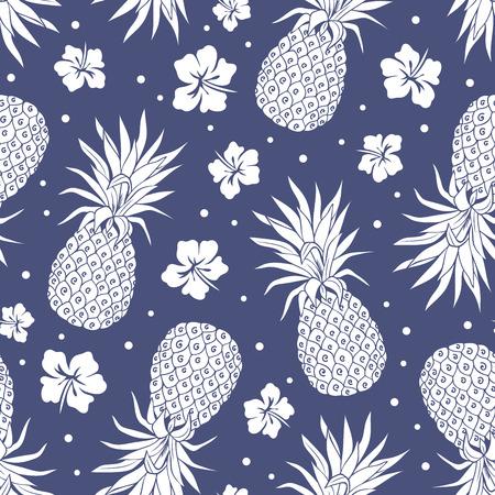 花を持つヴィンテージ パイナップル シームレスなパターンをベクトルします。