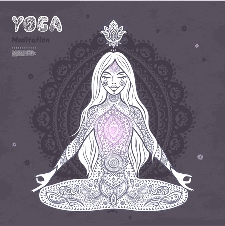 girl pose: vector illustration of a girl in a meditation pose