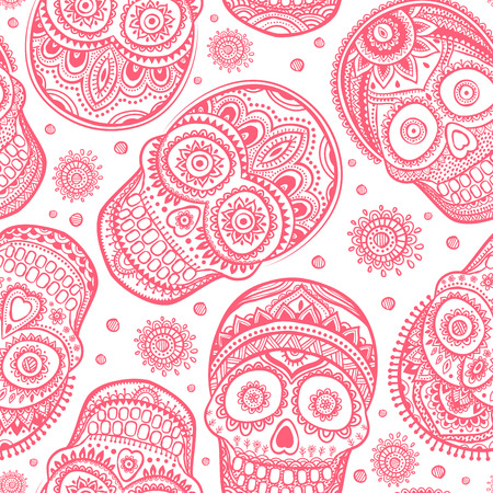 human hand: Vintage ethnic hand drawn human skull can be used as a greeting card Illustration