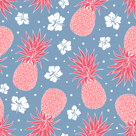 Vector Vintage pineapple seamless pattern with flowers Фото со стока - 43148746