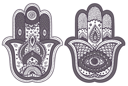 mantra: Vector Indian hand drawn hamsa with ethnic ornaments