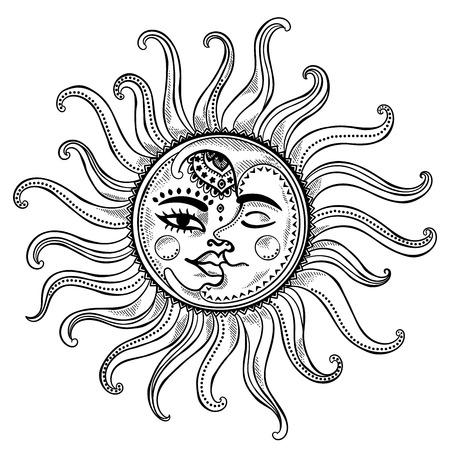 zon en maan: Zon, maan en sterren vintage vector illustratie Stock Illustratie