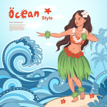 レトロなスタイルのハワイの美しいフラガールをベクトルします。