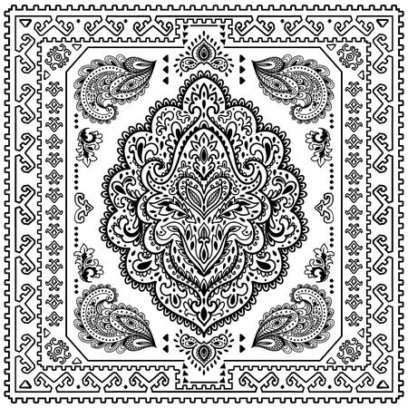 flower ornament: Beautiful Indian floral ornament can be used as a greeting card Illustration