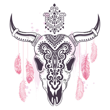 skull and bones: Vector Tribal animal skull illustration with ethnic ornaments