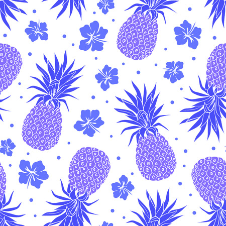 Vector Vintage pineapple seamless pattern with flowers Ilustrace