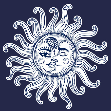 太陽と月と星のビンテージ ベクトル図  イラスト・ベクター素材
