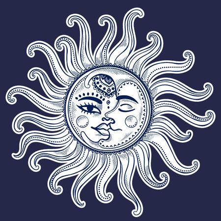 sonne: Sonne, Mond und Sterne vintage Vektor-Illustration Illustration