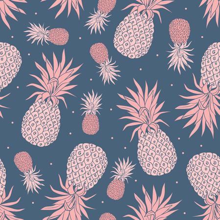 Vector ananas Vintage naadloze patroon met bloemen