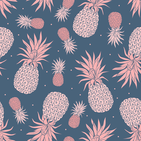 Vector Vintage pineapple seamless pattern with flowers Çizim
