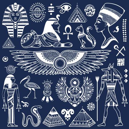 simbolo de la mujer: Conjunto de vector aislado símbolos y objetos Egipto Vectores