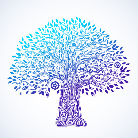 trees silhouette: Beautiful Unique ethnic tree of life illustration