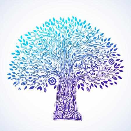 arbol de pino: Hermoso �rbol �tnico �nico de ilustraci�n vida