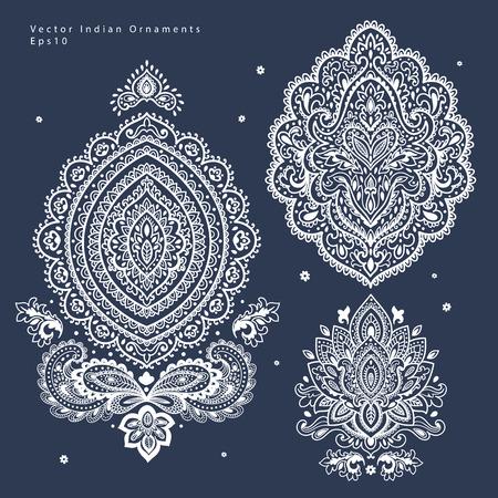 disegni cachemire: Bella ornamento floreale indiano può essere usato come un biglietto di auguri