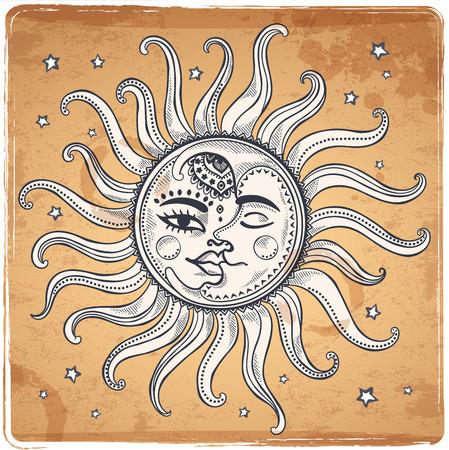 Zon, maan en sterren vintage vector illustratie Stock Illustratie