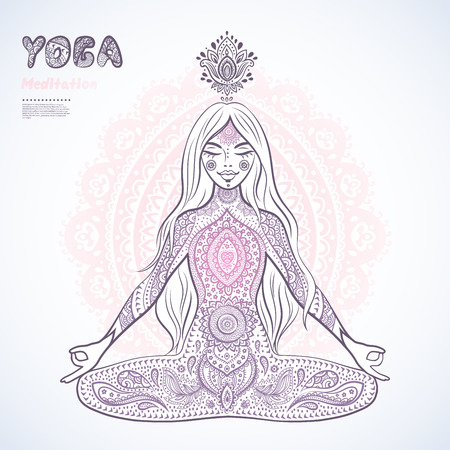 chakra: vector illustration of a girl in a meditation pose