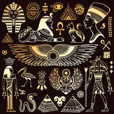 piramide humana: Conjunto de vector aislado s�mbolos y objetos Egipto Vectores