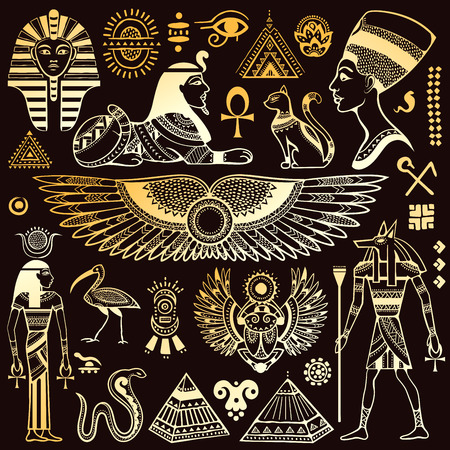 egyptian woman: Set of Vector isolated Egypt symbols and objects