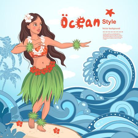 Vector Retro style Hawaiian beautiful hula girl