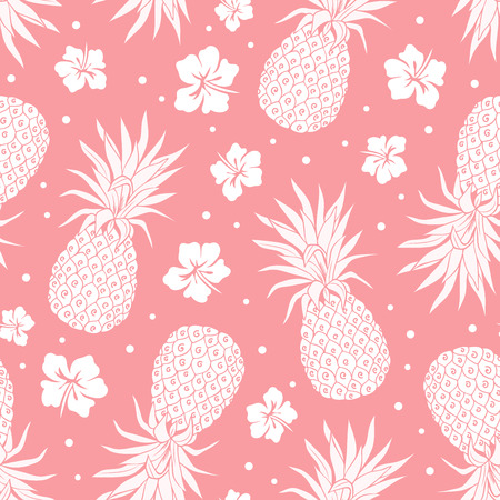 pineapple: Vector Vintage pineapple seamless pattern with flowers Illustration