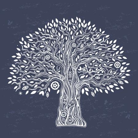 doğa arka: Hayat illüstrasyon Güzel Benzersiz etnik ağaç